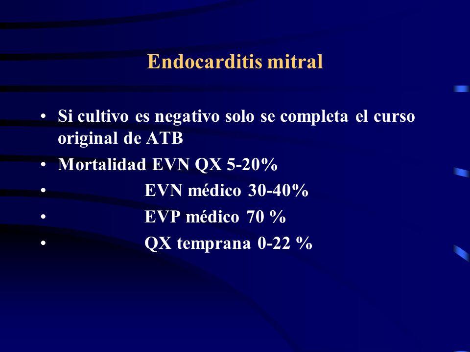 Endocarditis mitral Si cultivo es negativo solo se completa el curso original de ATB. Mortalidad EVN QX 5-20%