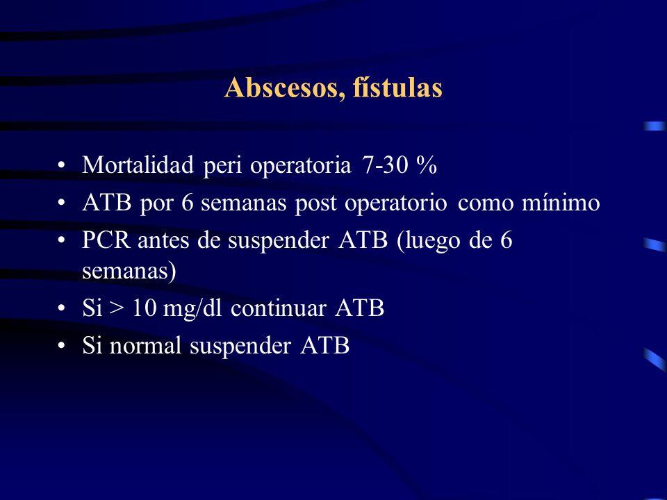 Abscesos, fístulas Mortalidad peri operatoria 7-30 %
