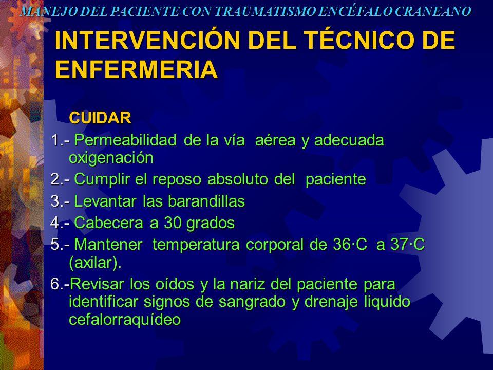 INTERVENCIÓN DEL TÉCNICO DE ENFERMERIA