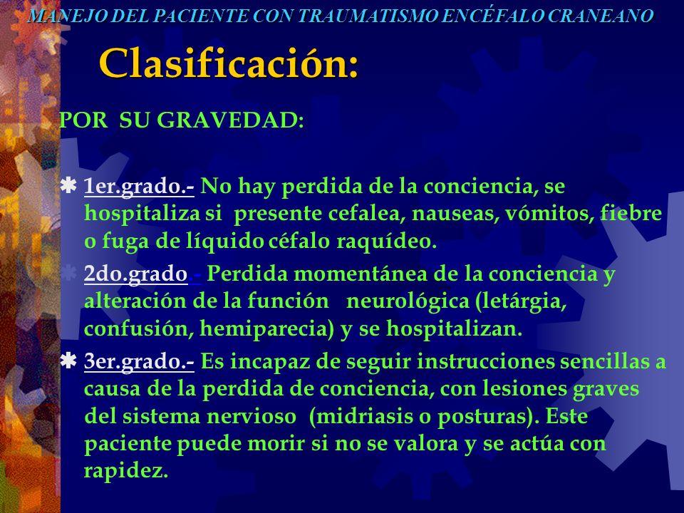 Clasificación: POR SU GRAVEDAD: