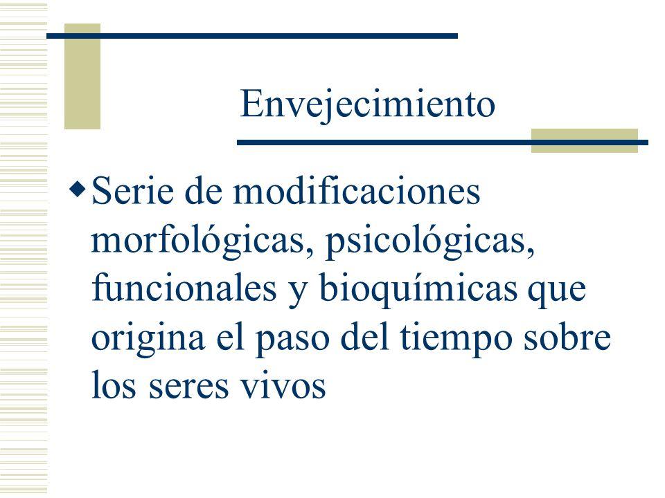 EnvejecimientoSerie de modificaciones morfológicas, psicológicas, funcionales y bioquímicas que origina el paso del tiempo sobre los seres vivos.