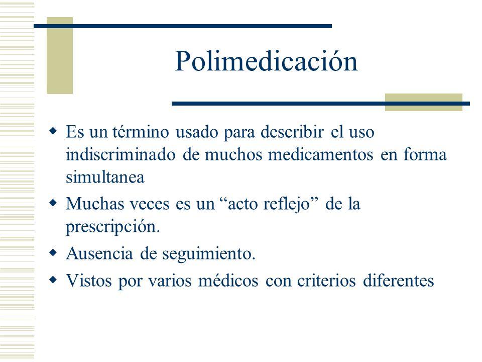 Polimedicación Es un término usado para describir el uso indiscriminado de muchos medicamentos en forma simultanea.