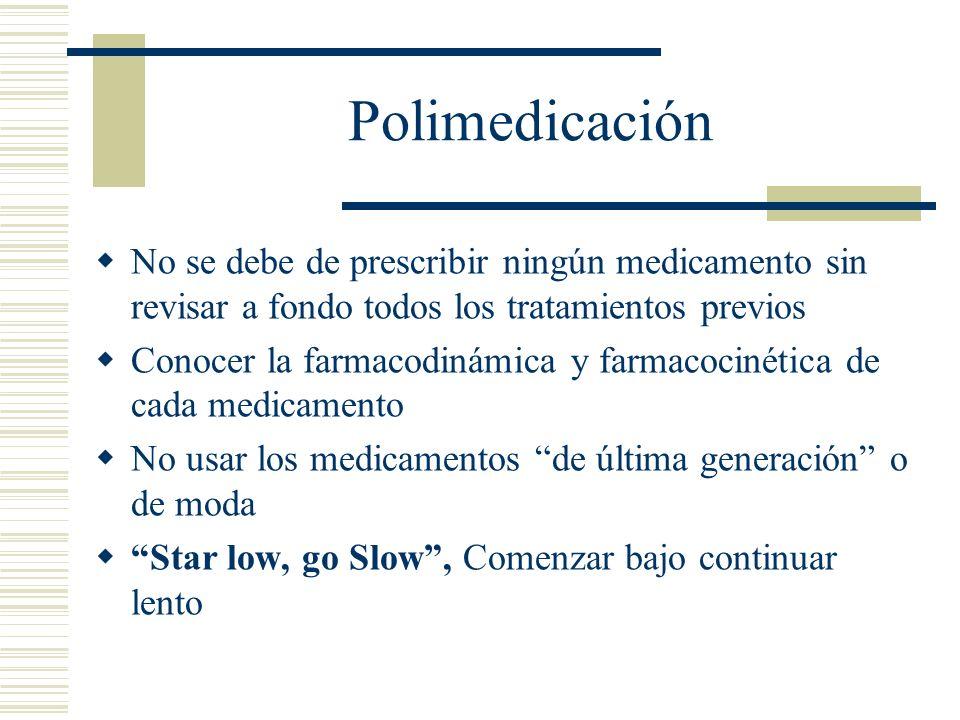 Polimedicación No se debe de prescribir ningún medicamento sin revisar a fondo todos los tratamientos previos.