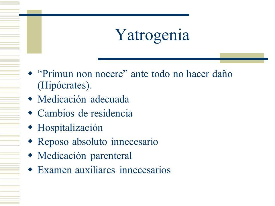 Yatrogenia Primun non nocere ante todo no hacer daño (Hipócrates).