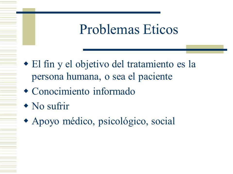 Problemas Eticos El fin y el objetivo del tratamiento es la persona humana, o sea el paciente. Conocimiento informado.
