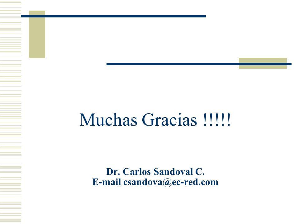 Muchas Gracias !!!!! Dr. Carlos Sandoval C. E-mail csandova@ec-red.com