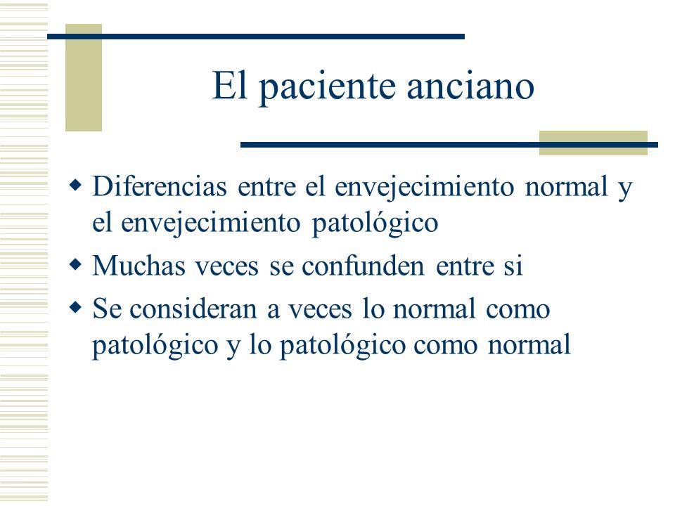 El paciente anciano Diferencias entre el envejecimiento normal y el envejecimiento patológico. Muchas veces se confunden entre si.