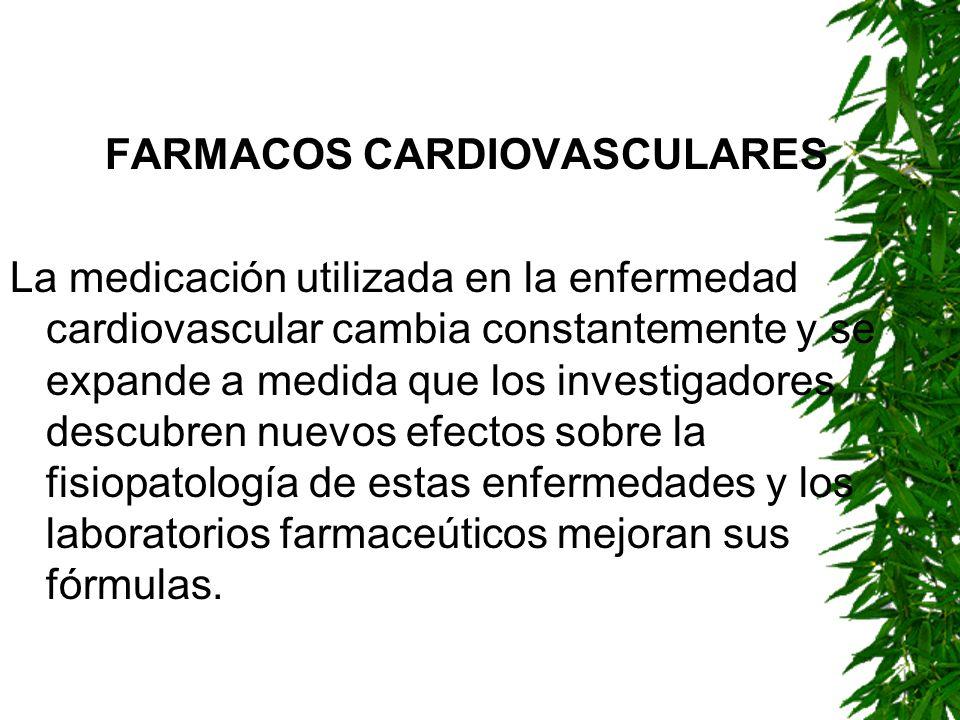 FARMACOS CARDIOVASCULARES