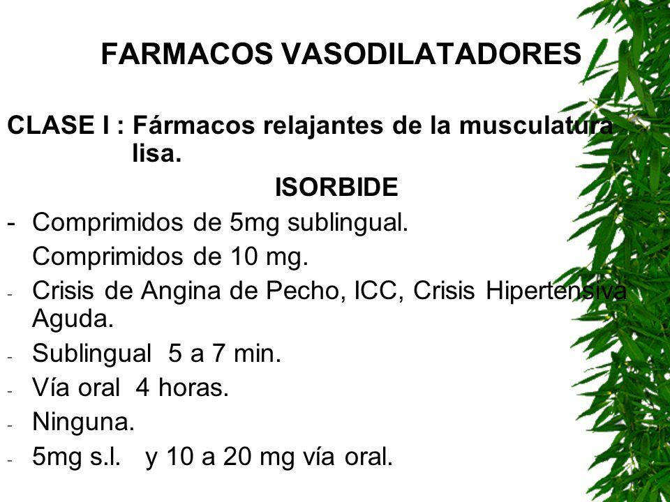 FARMACOS VASODILATADORES