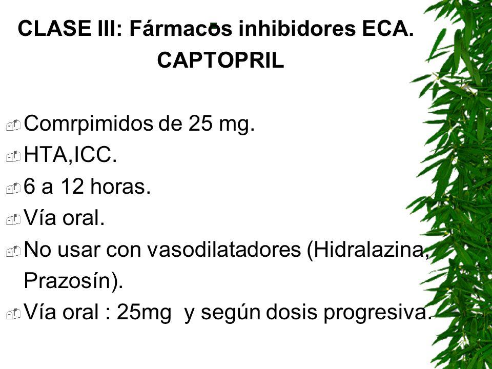 . CLASE III: Fármacos inhibidores ECA. CAPTOPRIL Comrpimidos de 25 mg.