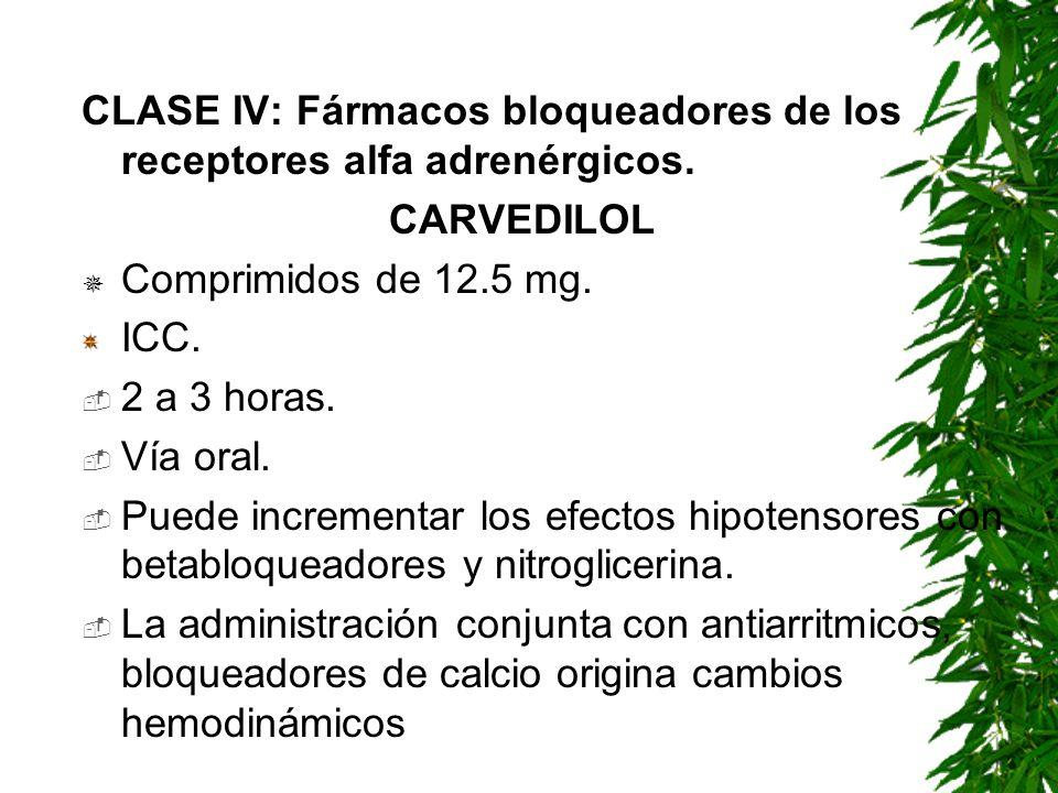 CLASE IV: Fármacos bloqueadores de los receptores alfa adrenérgicos.