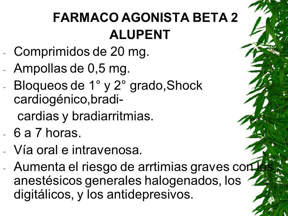 FARMACO AGONISTA BETA 2 ALUPENT. Comprimidos de 20 mg. Ampollas de 0,5 mg. Bloqueos de 1° y 2° grado,Shock cardiogénico,bradi-