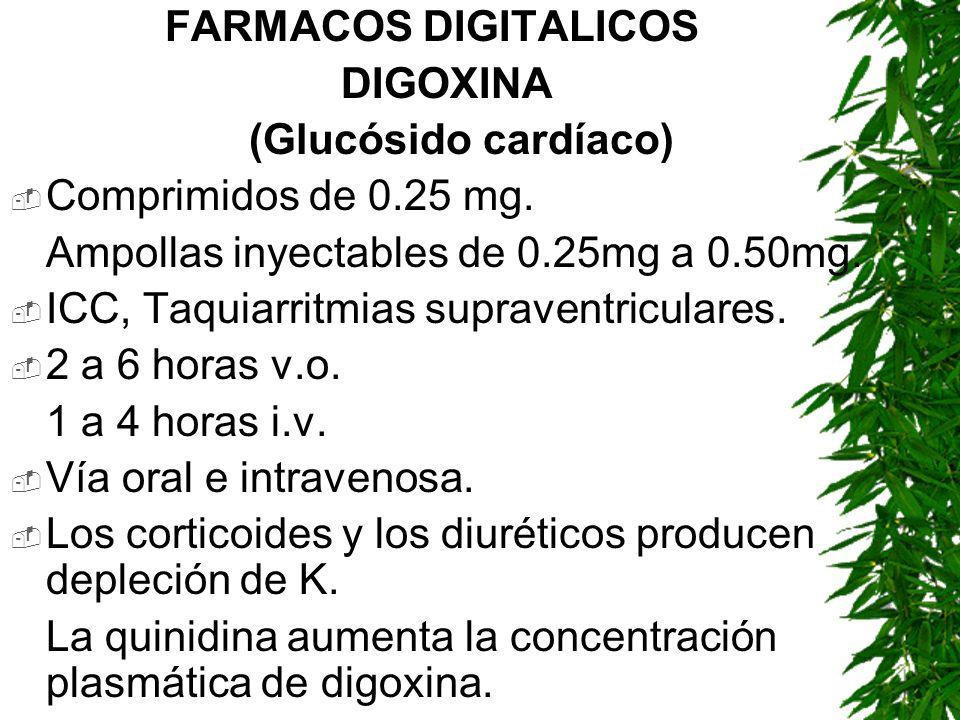 FARMACOS DIGITALICOS DIGOXINA. (Glucósido cardíaco) Comprimidos de 0.25 mg. Ampollas inyectables de 0.25mg a 0.50mg.