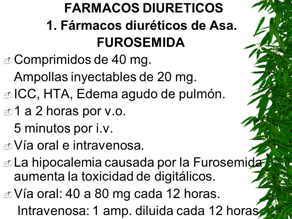 FARMACOS DIURETICOS1. Fármacos diuréticos de Asa. FUROSEMIDA. Comprimidos de 40 mg. Ampollas inyectables de 20 mg.