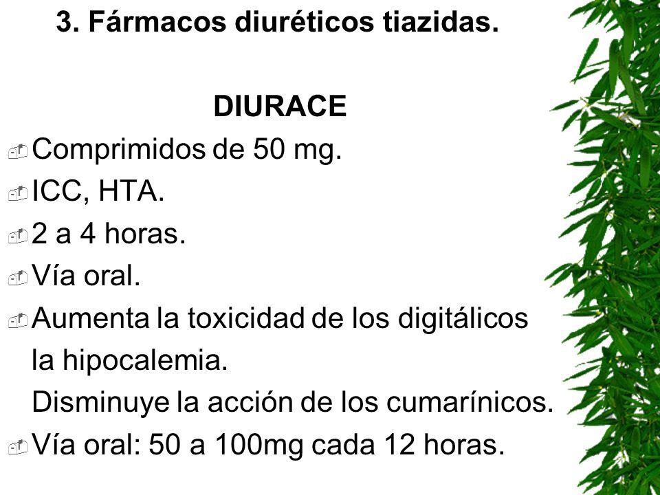 3. Fármacos diuréticos tiazidas.