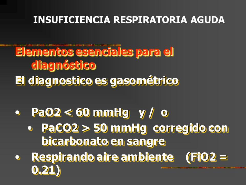 Elementos esenciales para el diagnóstico El diagnostico es gasométrico