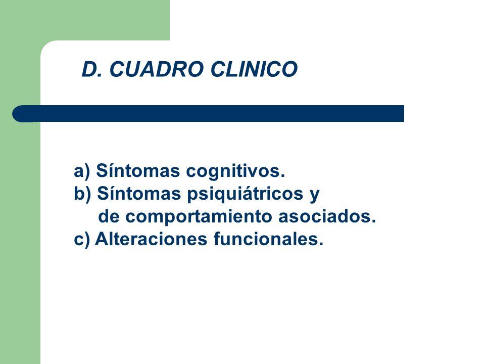D. CUADRO CLINICO a) Síntomas cognitivos. b) Síntomas psiquiátricos y