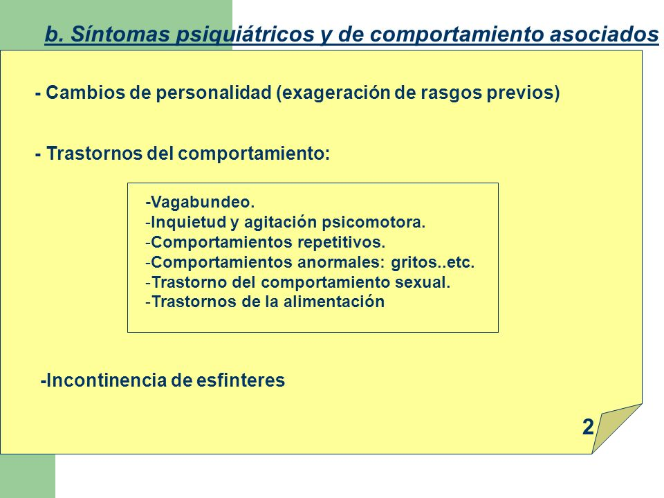 b. Síntomas psiquiátricos y de comportamiento asociados