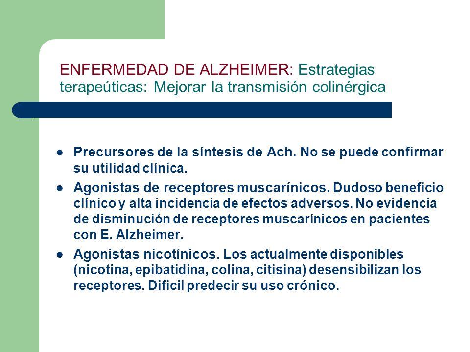 ENFERMEDAD DE ALZHEIMER: Estrategias terapeúticas: Mejorar la transmisión colinérgica