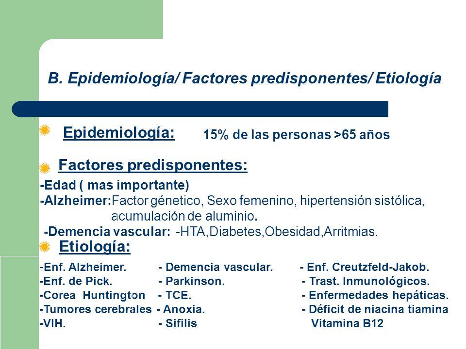 B. Epidemiología/ Factores predisponentes/ Etiología