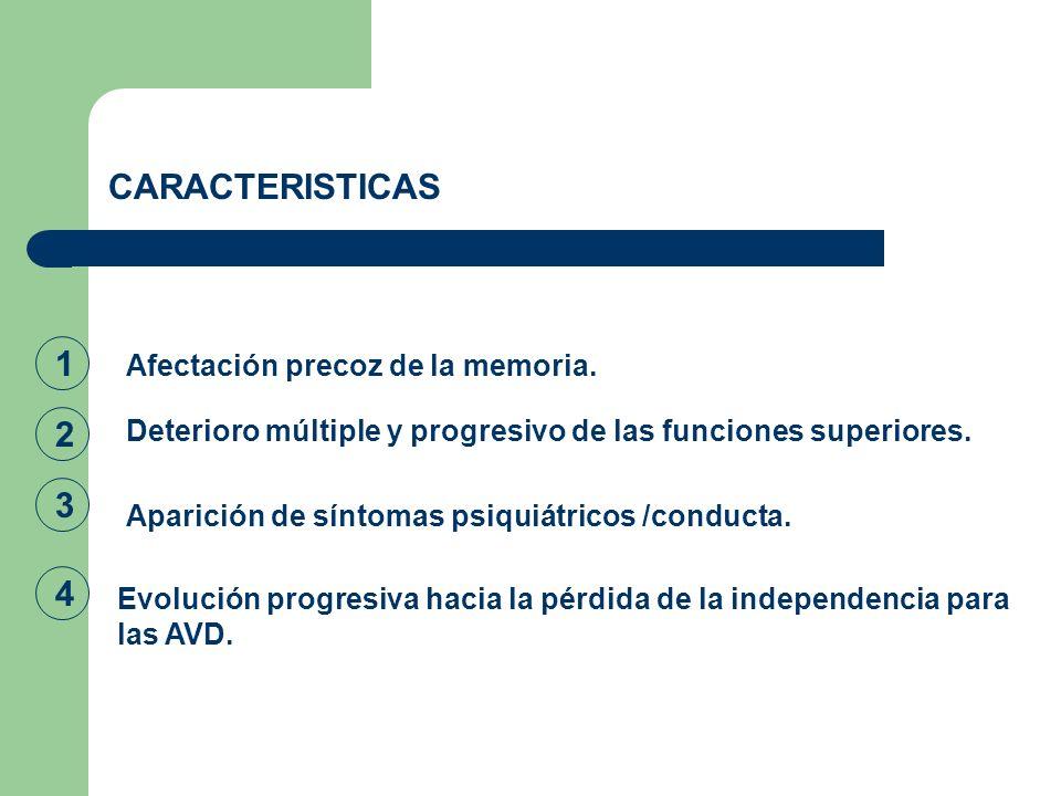 CARACTERISTICAS 1 2 3 4 Afectación precoz de la memoria.
