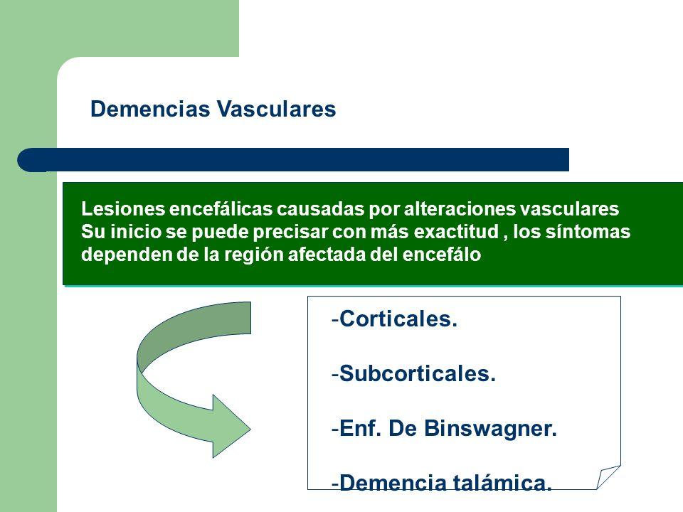Demencias Vasculares Corticales. Subcorticales. Enf. De Binswagner.