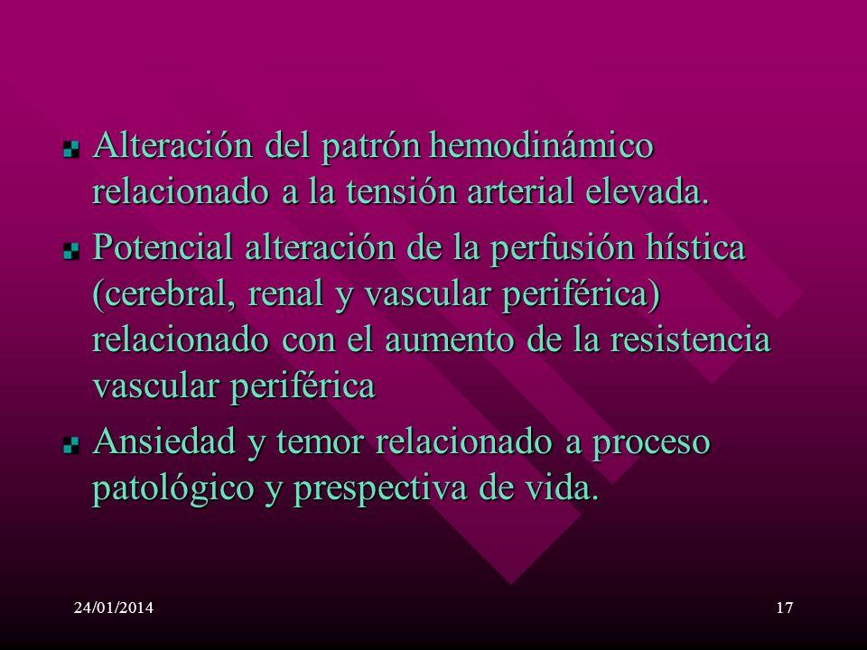 Alteración del patrón hemodinámico relacionado a la tensión arterial elevada.