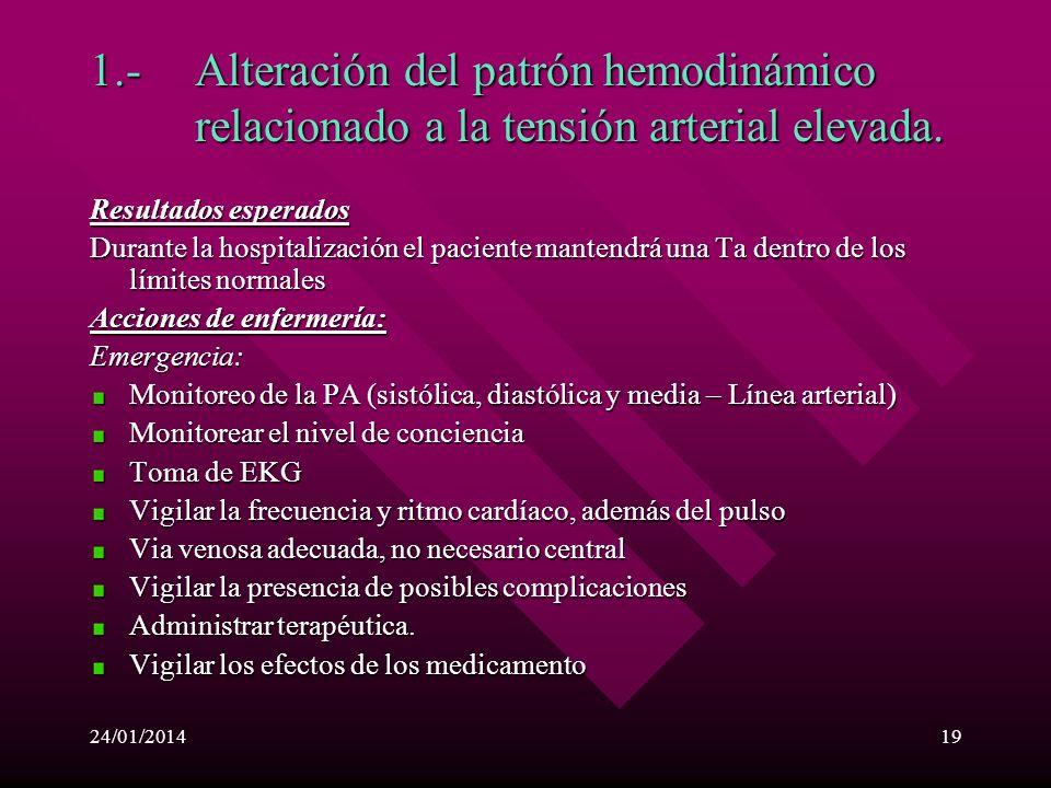 1. -. Alteración del patrón hemodinámico