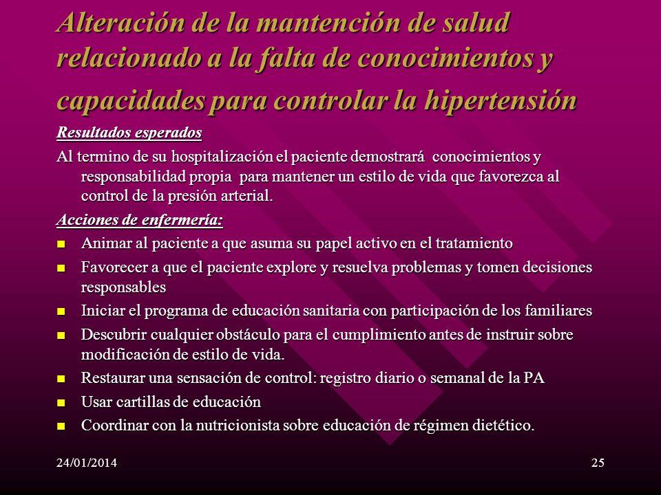 Alteración de la mantención de salud relacionado a la falta de conocimientos y capacidades para controlar la hipertensión