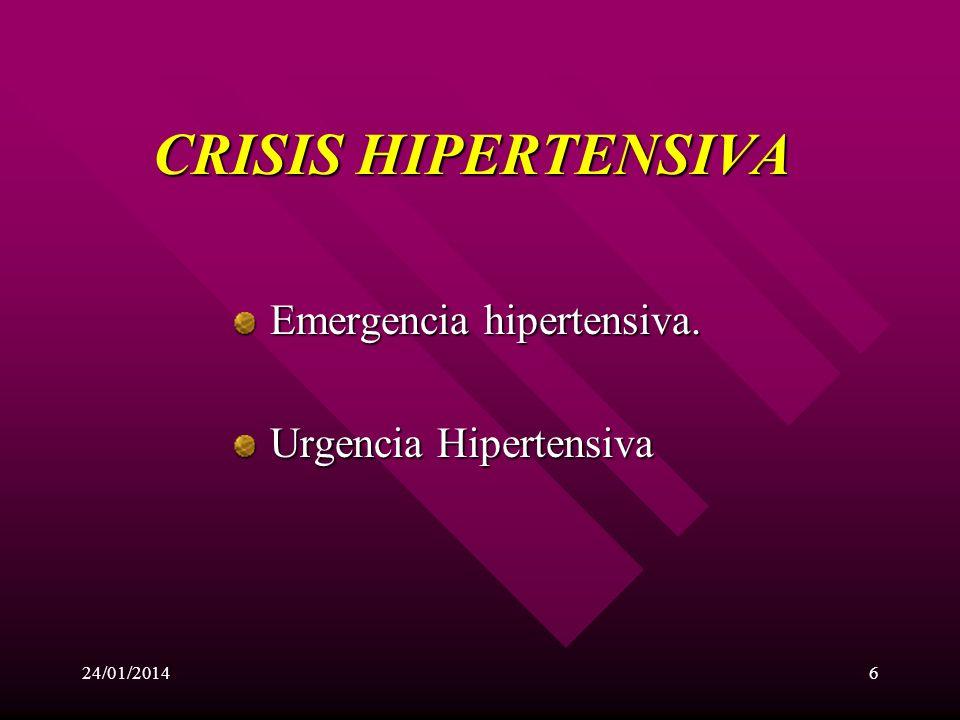 CRISIS HIPERTENSIVA Emergencia hipertensiva. Urgencia Hipertensiva