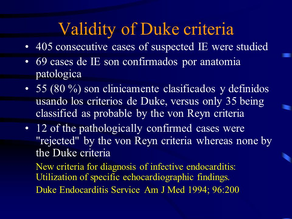 Validity of Duke criteria