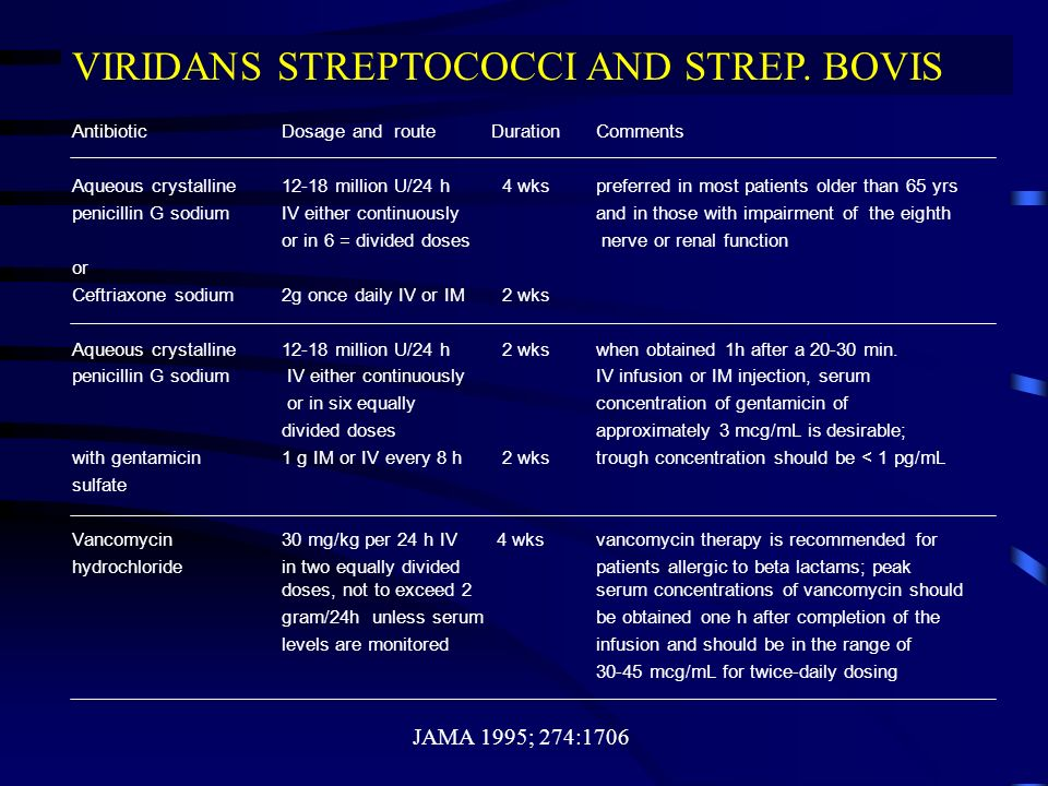 VIRIDANS STREPTOCOCCI AND STREP. BOVIS
