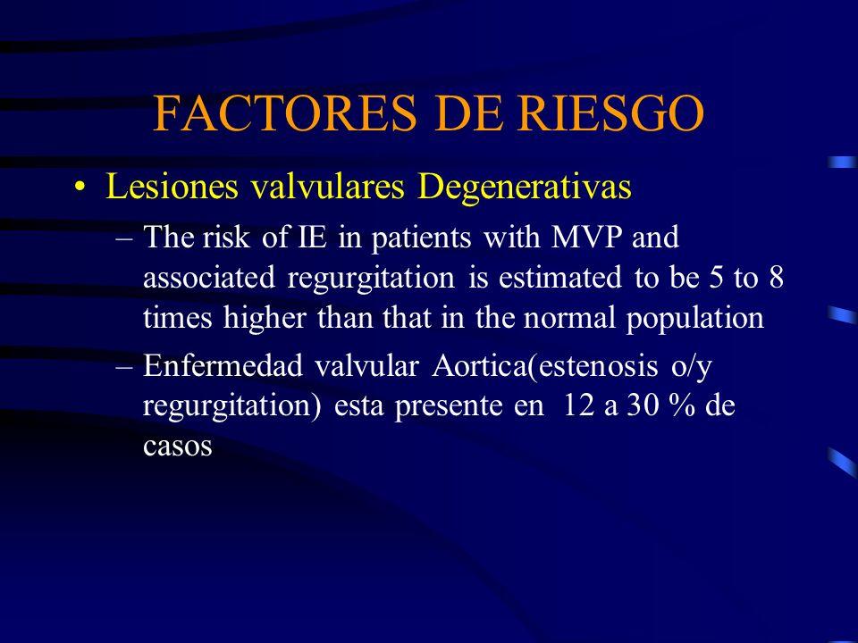 FACTORES DE RIESGO Lesiones valvulares Degenerativas