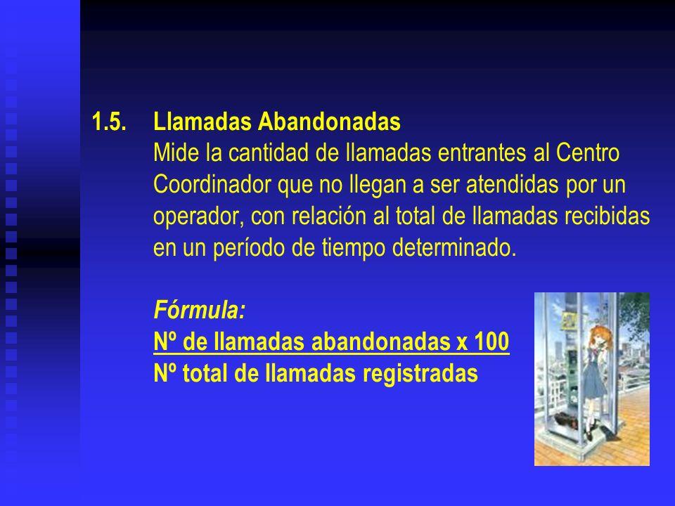 1.5. Llamadas Abandonadas Mide la cantidad de llamadas entrantes al Centro Coordinador que no llegan a ser atendidas por un operador, con relación al total de llamadas recibidas en un período de tiempo determinado.