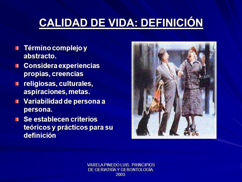 CALIDAD DE VIDA: DEFINICIÓN