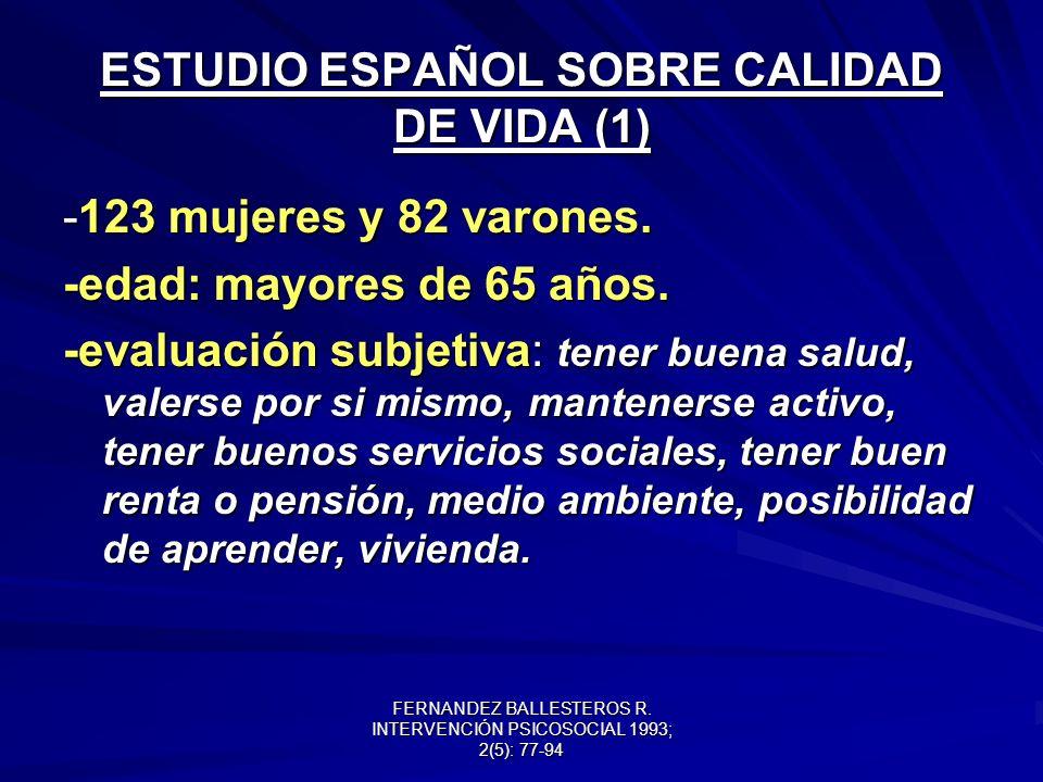 ESTUDIO ESPAÑOL SOBRE CALIDAD DE VIDA (1)