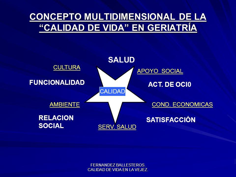 CONCEPTO MULTIDIMENSIONAL DE LA CALIDAD DE VIDA EN GERIATRÍA