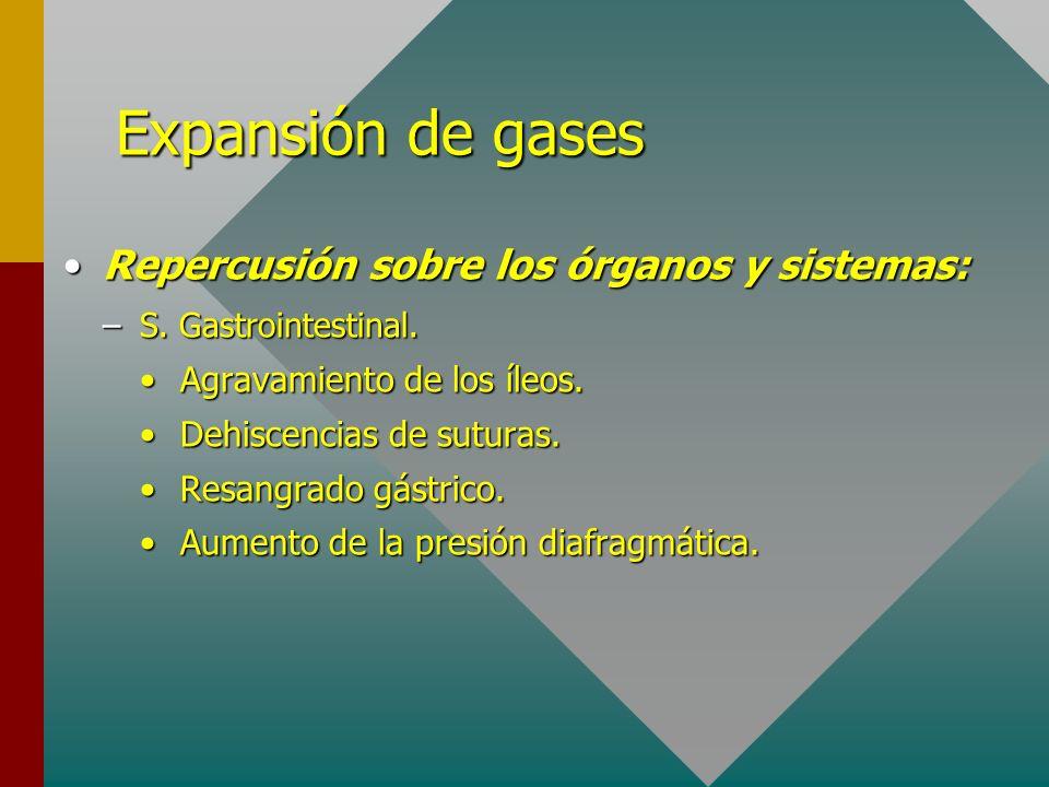 Expansión de gases Repercusión sobre los órganos y sistemas: