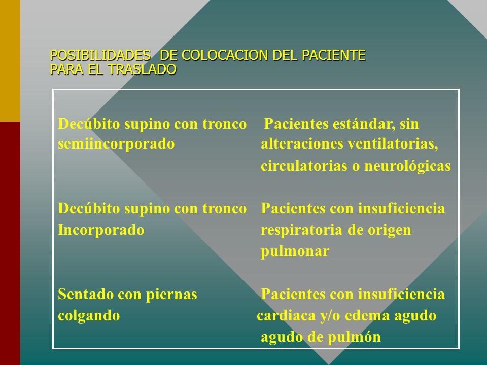 POSIBILIDADES DE COLOCACION DEL PACIENTE PARA EL TRASLADO