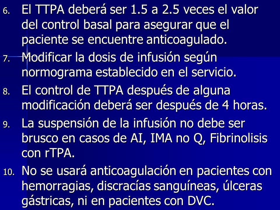 El TTPA deberá ser 1.5 a 2.5 veces el valor del control basal para asegurar que el paciente se encuentre anticoagulado.