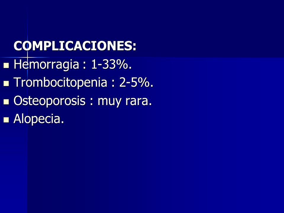 COMPLICACIONES: Hemorragia : 1-33%. Trombocitopenia : 2-5%. Osteoporosis : muy rara. Alopecia.