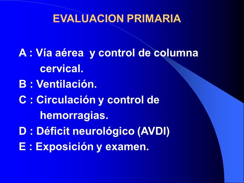EVALUACION PRIMARIA A : Vía aérea y control de columna. cervical. B : Ventilación. C : Circulación y control de.