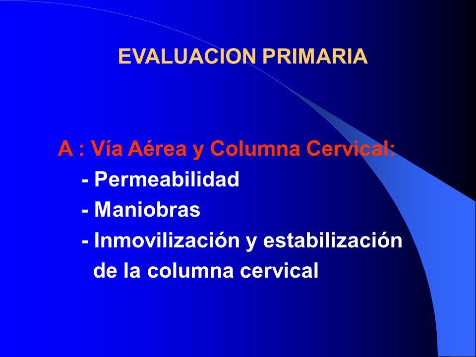 EVALUACION PRIMARIAA : Vía Aérea y Columna Cervical: - Permeabilidad. - Maniobras. - Inmovilización y estabilización.