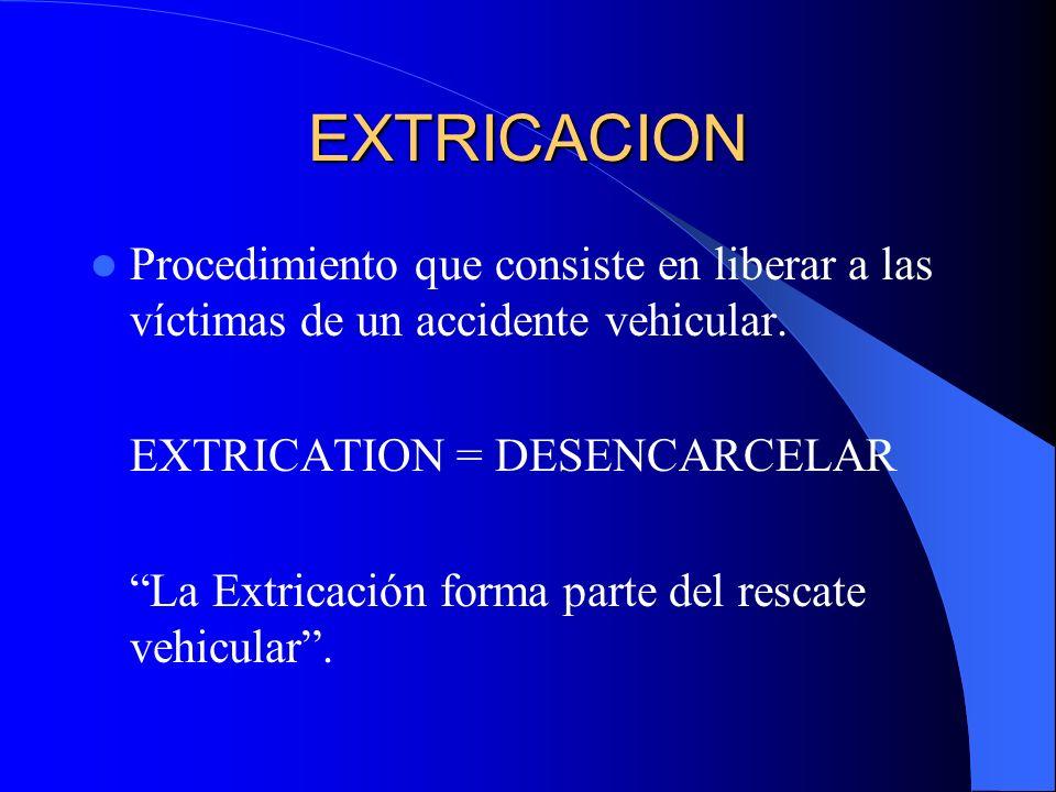 EXTRICACION Procedimiento que consiste en liberar a las víctimas de un accidente vehicular. EXTRICATION = DESENCARCELAR.