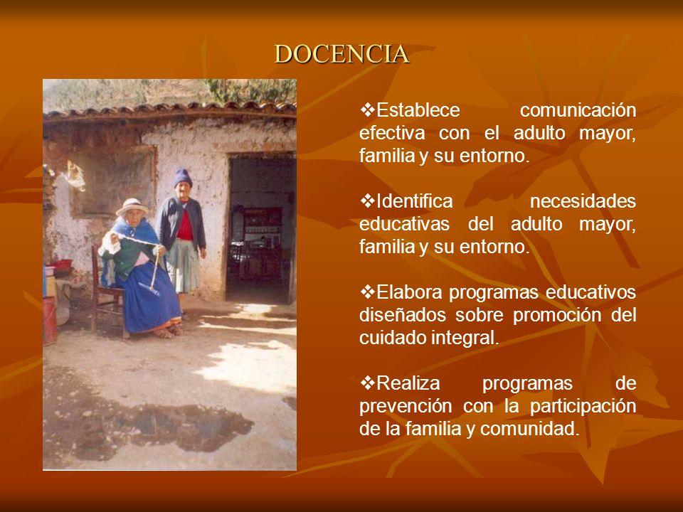DOCENCIA Establece comunicación efectiva con el adulto mayor, familia y su entorno.