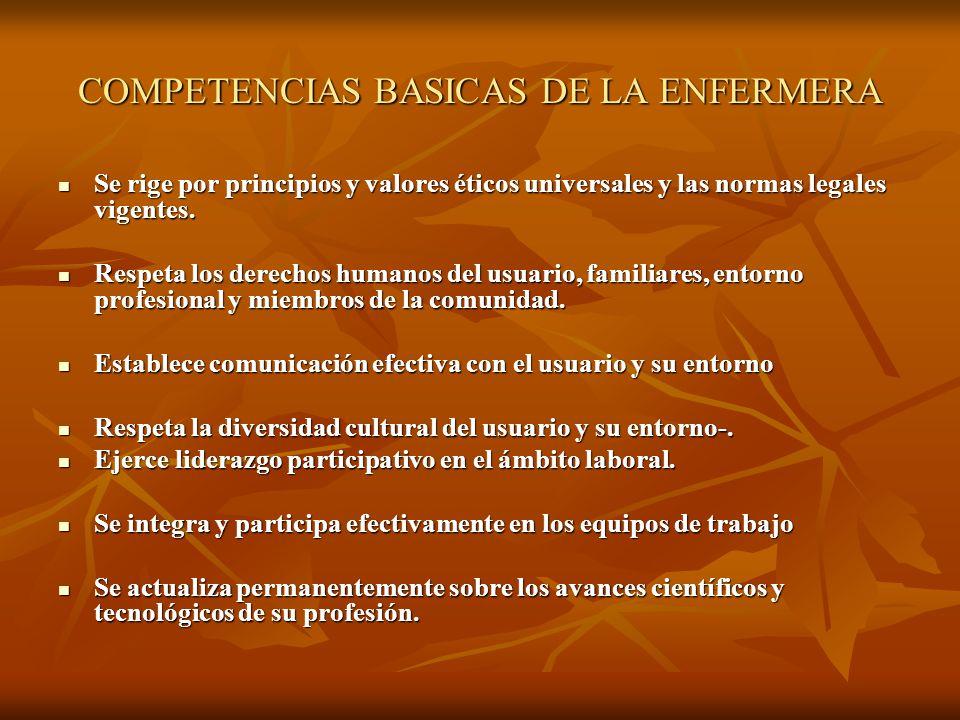COMPETENCIAS BASICAS DE LA ENFERMERA
