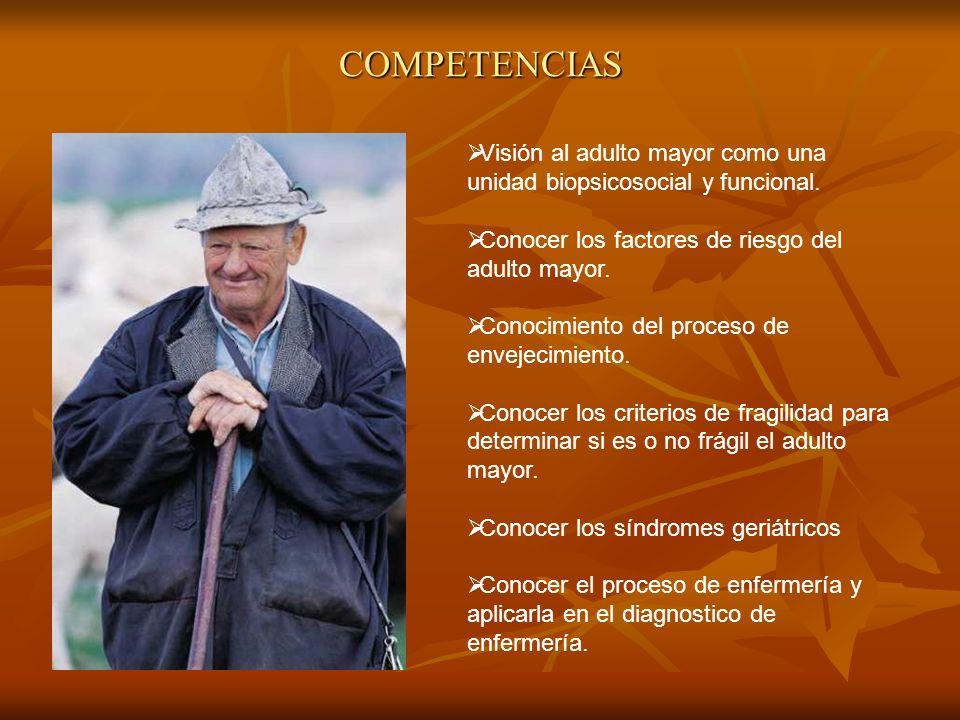 COMPETENCIAS Visión al adulto mayor como una unidad biopsicosocial y funcional. Conocer los factores de riesgo del adulto mayor.