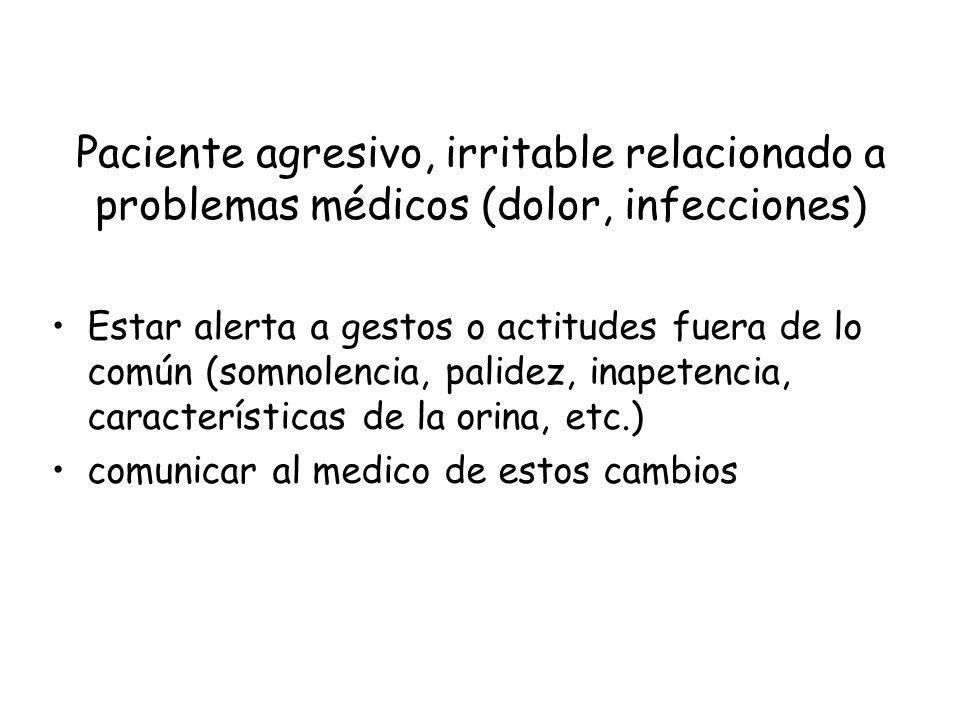 Paciente agresivo, irritable relacionado a problemas médicos (dolor, infecciones)