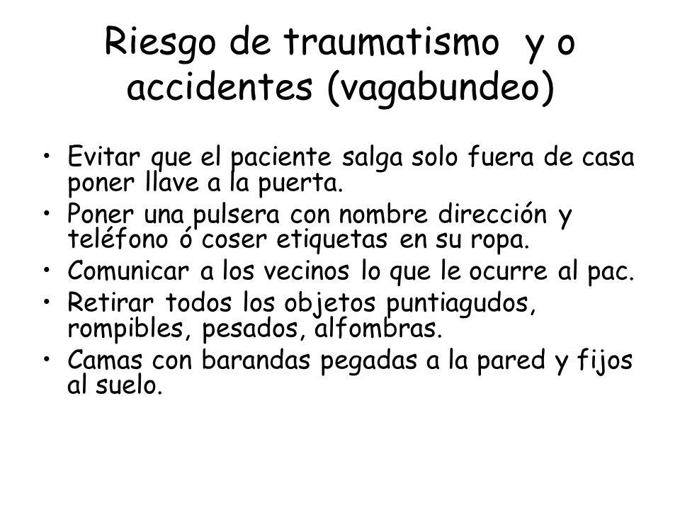 Riesgo de traumatismo y o accidentes (vagabundeo)