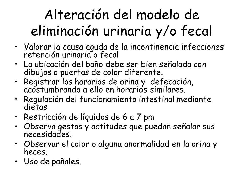 Alteración del modelo de eliminación urinaria y/o fecal